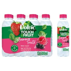 Volvic Touch of Fruit Sugar Free Summer Fruits Natural Flavoured Water 12 x 500ml