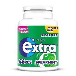 Extra Spearmint Chewing Gum Sugar Free Bottle 46 Pieces