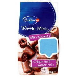 Bahlsen Waffle Minis Milk Chocolate Crispy Mini Wafer Rolls 100g