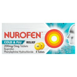 Nurofen Cold & Flu Relief 200mg/5mg Tablets 8 Tablets