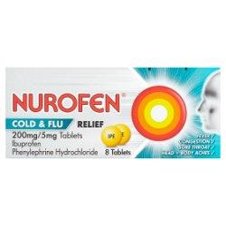 Nurofen Cold & Flu Relief 200mg/5mg Tablets 8 Tablets