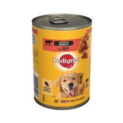 Pedigree Wet Dog Food Tin with Beef in Gravy 400g