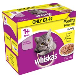 WHISKAS 1+ Cat Pouches Poultry Selection in Jelly 12 x 100g (1.2kg)