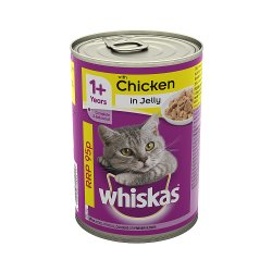Whiskas Adult 1+ Wet Cat Food Tin with Chicken in Jelly 390g (PMP 95p)