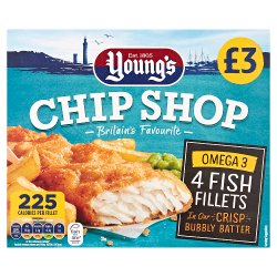 Young's Chip Shop 4 Fish Fillets in our Crisp Bubbly Batter 400g