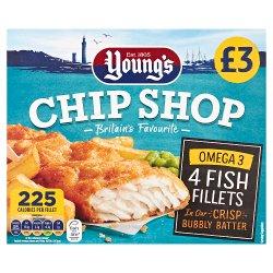 Young's Chip Shop 4 Omega 3 Fish Fillets PMP 400g