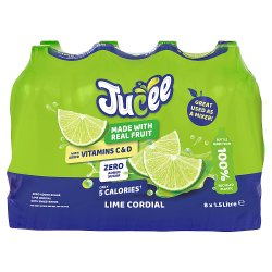 Jucee No Added Sugar Lime Cordial 8 x 1.5 Ltr