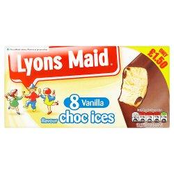 Lyons Maid Vanilla Flavour Choc Ices 8 x 62ml