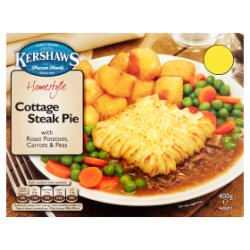 Kershaws Homestyle Cottage Steak Pie with Roast Potatoes, Carrots & Peas 400g
