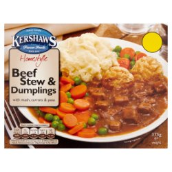 Kershaws Homestyle Beef Stew & Dumplings with Mash, Carrots & Peas 375g
