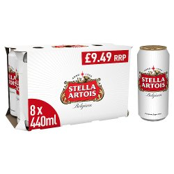 Stella Artois Premium Lager Beer Cans 8 x 440ml