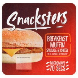 Snacksters Breakfast Muffin Sausage & Cheese with a Sachet of Ketchup 138g