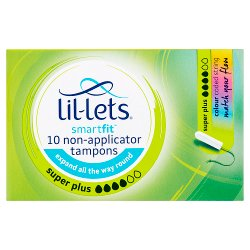 Lil-Lets SmartFit 10 Non-Applicator Tampons Super Plus