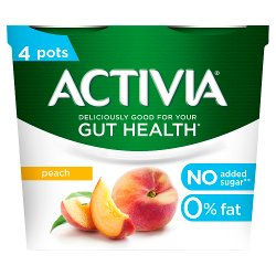 Activia Peach No Added Sugar Gut Health Yogurt 4 x 115g (460g)