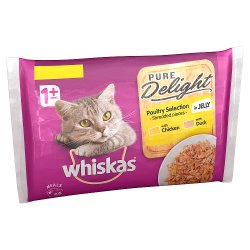 Whiskas Pure Delight Adult 1+ Wet Cat Food Pouches Mixed Poultry Collection in Jelly 6 x 85g