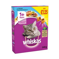 Whiskas Adult 1+ Complete Dry Cat Food with Tuna 340g (PMP £1.25)