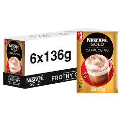 NESCAFÉ GOLD Cappuccino Coffee, 8 Sachets x 17g