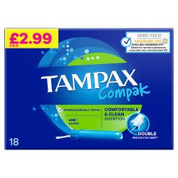 Tampax Compak Super Tampons With Applicator X 18