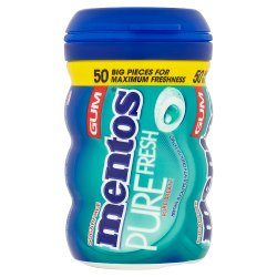Mentos Gum Sugar Free Pure Fresh Menthol-Eucalyptus Bottle 50pcs