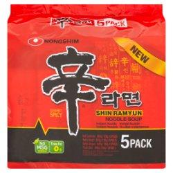 Nongshim Shin Ramyun Noodle Soup Gourmet Spicy 5 x 120g (600g)