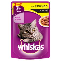 WHISKAS 7+ Cat Pouch with Chicken in Gravy 100g (MPP 3 for £1)