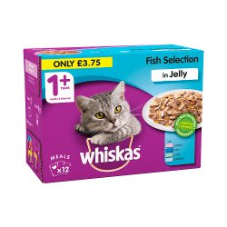 Whiskas Adult 1+ Wet Cat Food Pouches with Fish in Jelly 12 x 100g