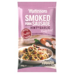 Mattessons Smoked Pork Sausage Hint of Garlic 200g