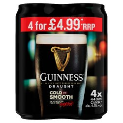 Guinness Draught Stout Beer 4 x 440ml Can PMP £4.99