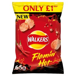 Walkers Flamin Hot Crisps £1 RRP PMP 65g