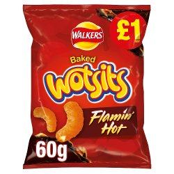 Walkers Wotsits Flamin Hot Snacks £1 RRP PMP 60g
