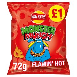 Walkers Monster Munch Flamin' Hot Snacks £1 RRP PMP 72g