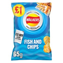 Walkers Fish and Chips Flavour Crisps £1 RRP PMP 65g