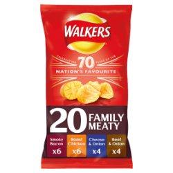Walkers Meaty Variety Crisps 20x25g