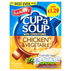 Batchelors Cup a Soup with Croutons Chicken & Vegetable 4 Pack 110g
