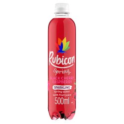 Rubicon Spring Black Cherry Raspberry Flavoured Sparkling Spring Water, 500ml