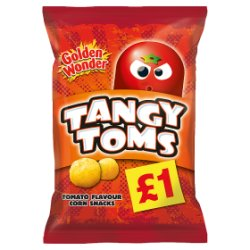 Golden Wonder Tangy Toms Tomato Flavour Corn Snacks 110g