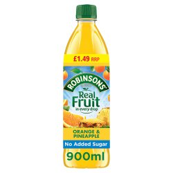 Robinsons Fruit Squash No Added Sugar Orange & Pineapple 12 x 900ml