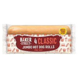 Baker Street 4 Jumbo Hot Dog Rolls Pre-Cut