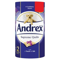 Andrex Supreme Quilts Toilet Roll Tissue 2 Rolls