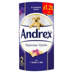 Andrex Supreme Quilts Toilet Roll Tissue 160sc 2 Rolls 12 Packs PMP £1.29
