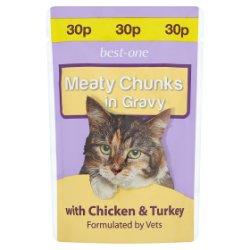 Best-One Meaty Chunks in Gravy with Chicken & Turkey 100g