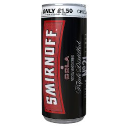 Smirnoff Red Label Vodka and Cola 250ml PMP £1.50