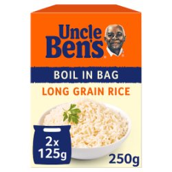 Uncle Bens Boil In Bag Long Grain Rice 2 x 125g