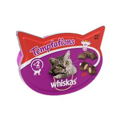 Whiskas Temptations Cat Treats with Beef 60g