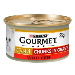 Gourmet Gold Tinned Cat Food Beef in Gravy 85g
