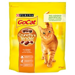 Go-Cat Crunchy and Tender Cat Food with Chicken, with Turkey and with Vegetables 375g
