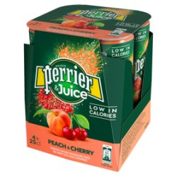 Perrier & Juice Sparkling Peach & Cherry Water 4x250ml