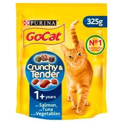 Go-Cat Crunchy and Tender Dry Cat Food Salmon Tuna Veg 325g