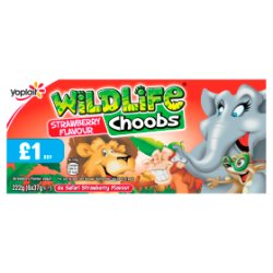 Yoplait Wildlife Choobs Strawberry Flavour Yogurt 6 x 37g (222g)