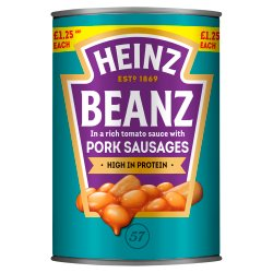 Heinz Beanz Baked Beans with Pork Sausages in a Rich Tomato Sauce 415g